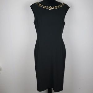 ELIZA J  Black Lined Shift DressW/Jeweled Neckline